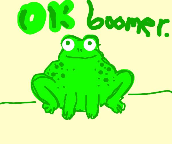 Frog say: okay boomer