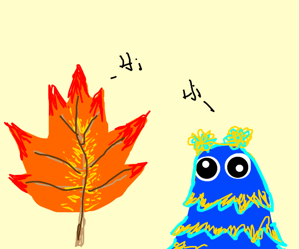spiky leaf talks with sad blue and yellow guy