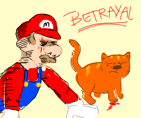 Mario getting scratched by a cat.
