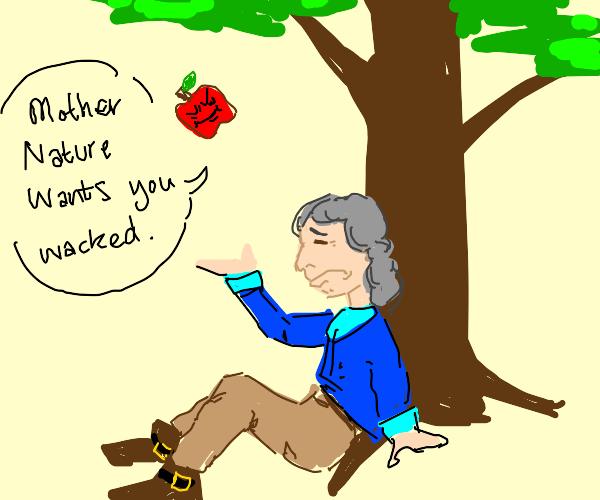 Apple falling on Isaac Newton