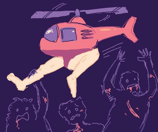 Jacked Half-Helicopter Half-Man fights horde