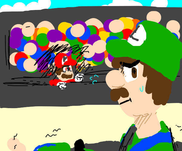 Mario watching Luigi race