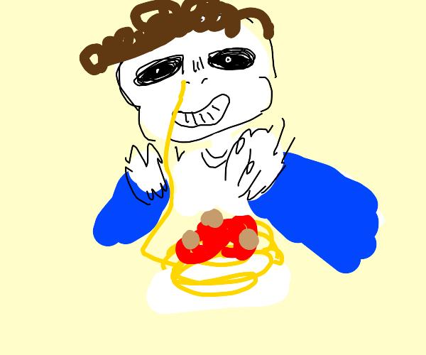 man inhales spaghetti