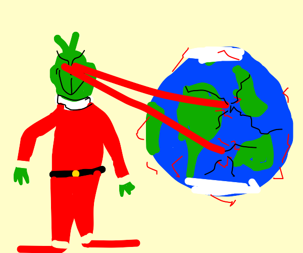 Grinch uses eye laser to destroy world
