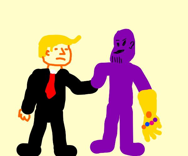 Trump and thanos handshake