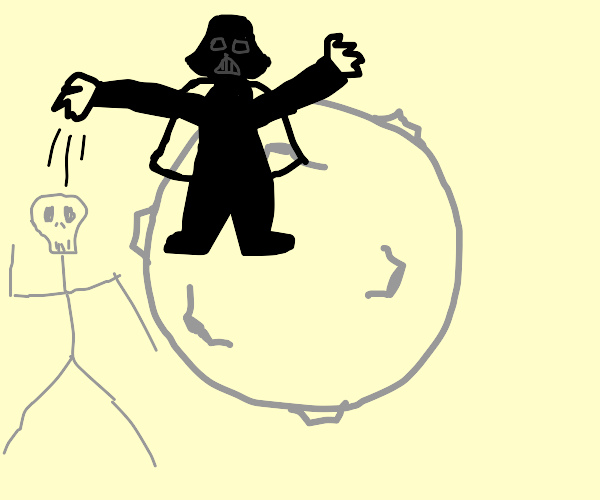 Darth Vader throwing skeletor off the moon