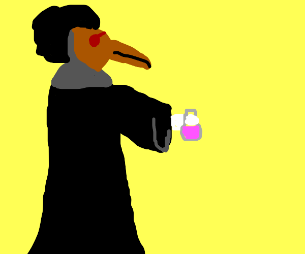Plague doctor with an Afro holding a potion