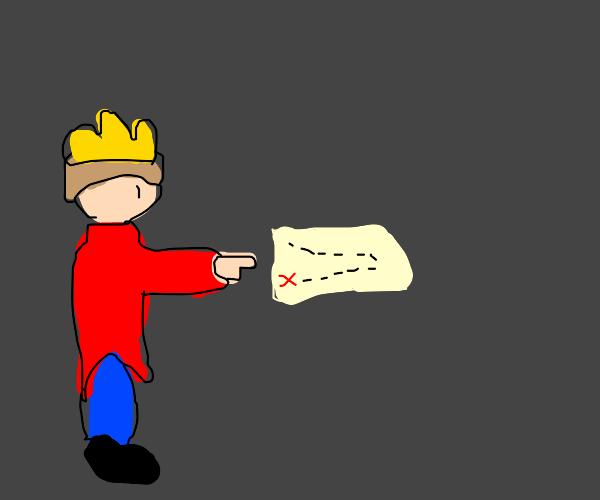 Prince pointing at the treasure map