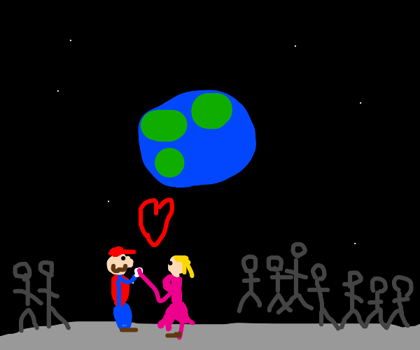 mario and peach get married in space