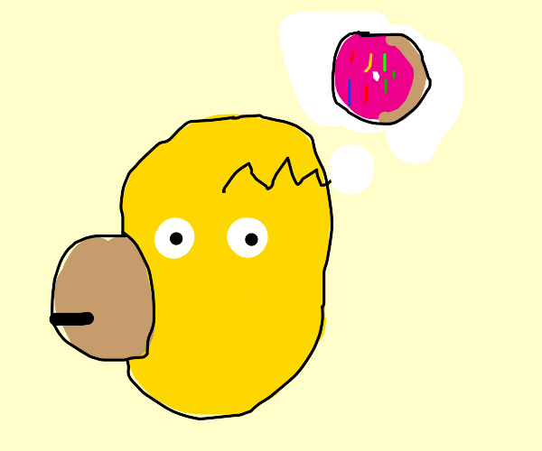 Homer thinks of donuts