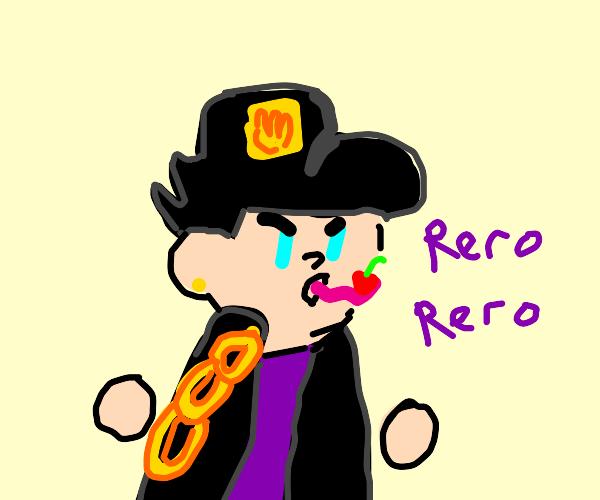 Jotaro tries licking cherry