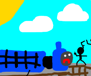 Thomas the train gets flipped off