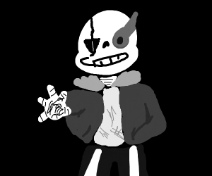 sans from undertale but greyscale