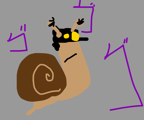 a menacing snail wearing Jotaro's hat