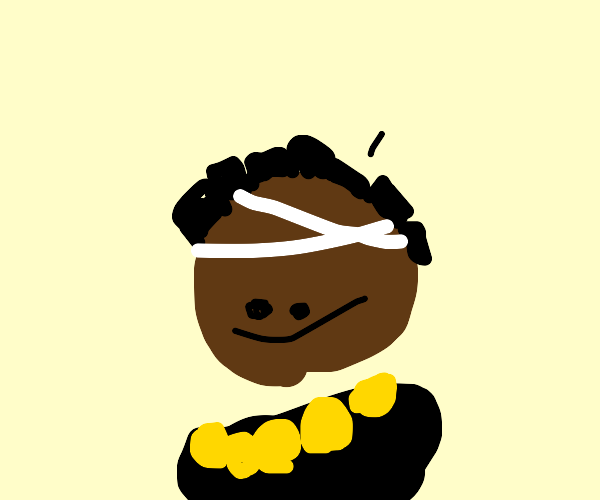 jojo guy? dark skin, black shirt, orange bit