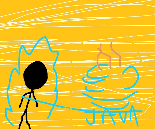 black figure approaches Java but it's jojo
