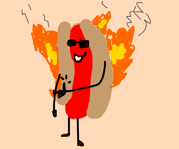 flaming cool hot dog