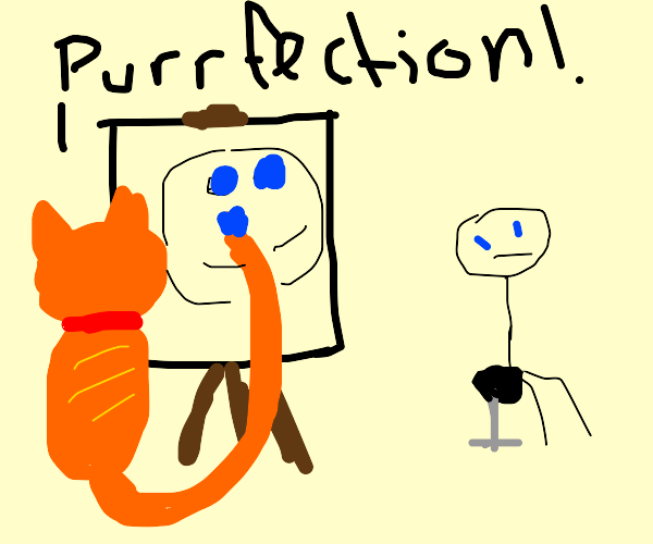 Cat painting their owner with its tail