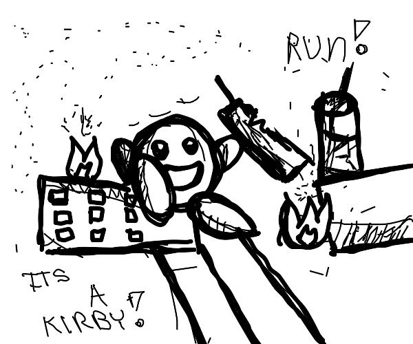Kirby eats a city