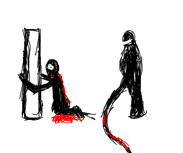 a chained man is whipped until he bleeds