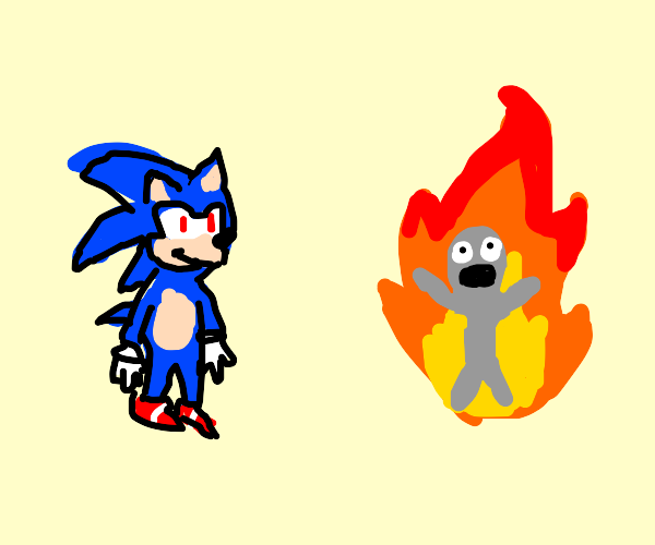 Sonic evilly watching a person burn to death