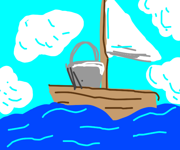 A boat with a bucket