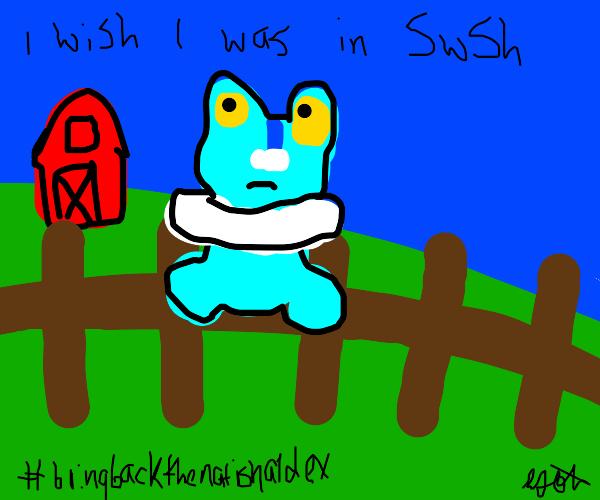 Froakie on a wood fence