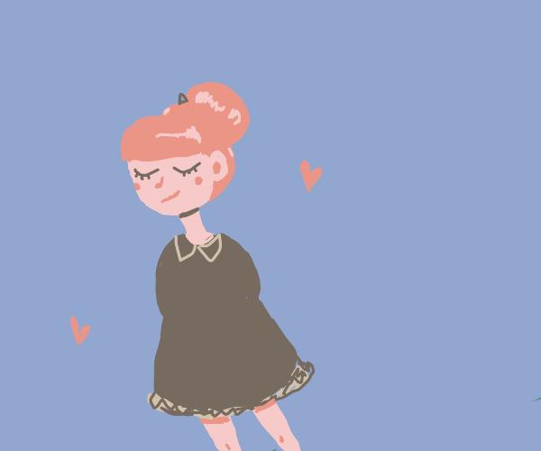 cute girl with a bun