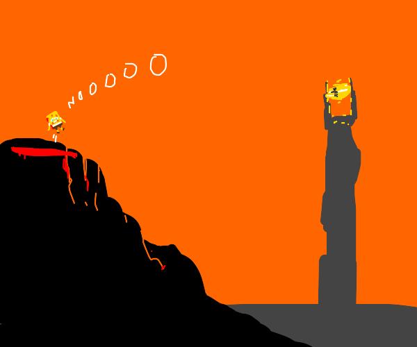 Spongebob falls into Mt. Doom