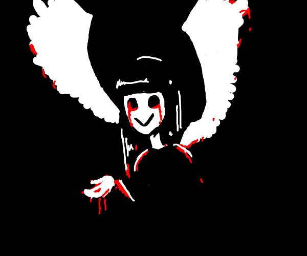 spooky woman w wings and black blood in eyes