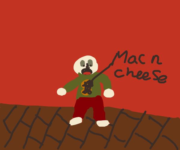 Spilled mac n cheese down myself again