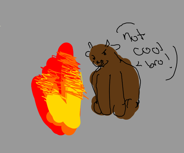 Brown cow is mad at fire