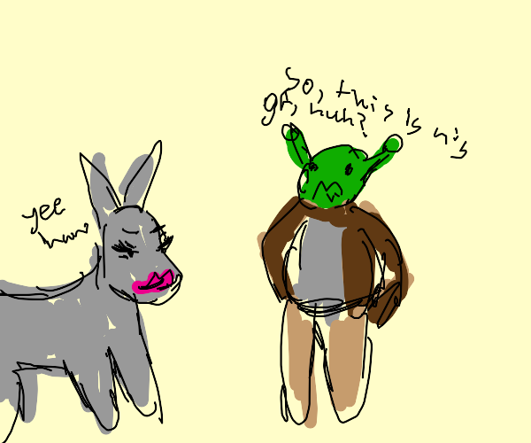 Shrek meeting Donkey's girlfriend first time
