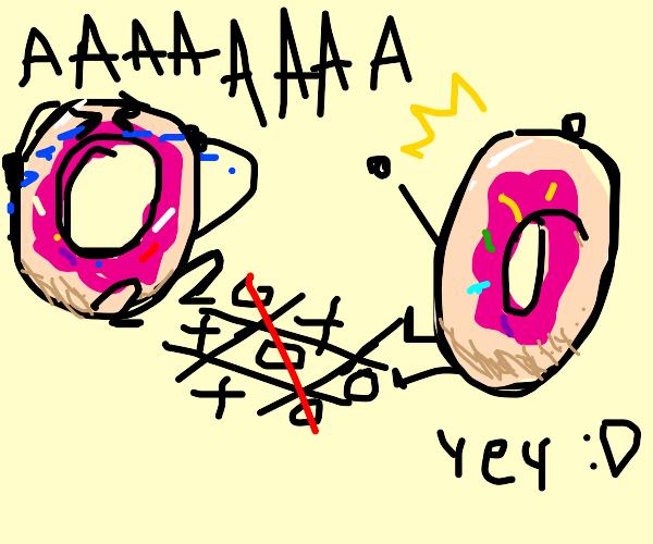 doughnut beats another doughnut in tictactoe