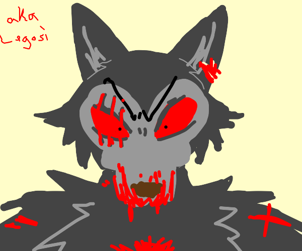 Angry Grey Wolf w/scars on his face