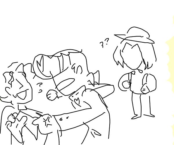 Yoshikagae beats up joske while cool guy wach