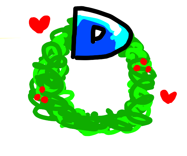 Drawception D is a Christmas wreath
