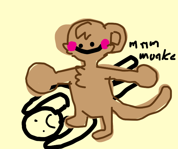 big monkey breaking a guys back