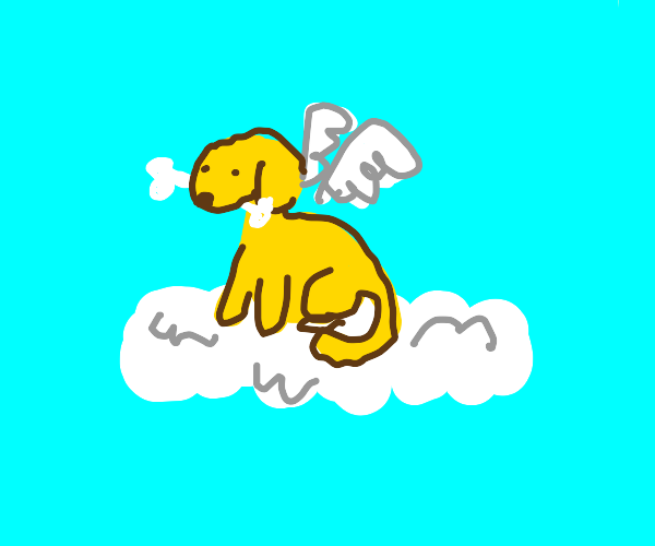 angel yellow dog on cloud with bone in mouth