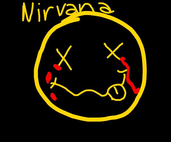Nirvana logo but its eyes are bleeding