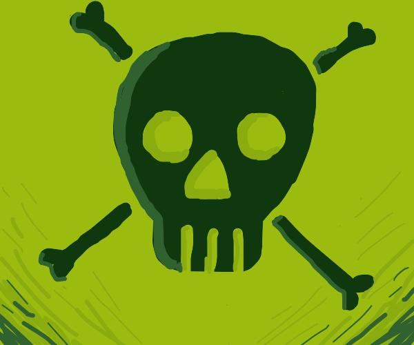 Pixelated skull and crossbones