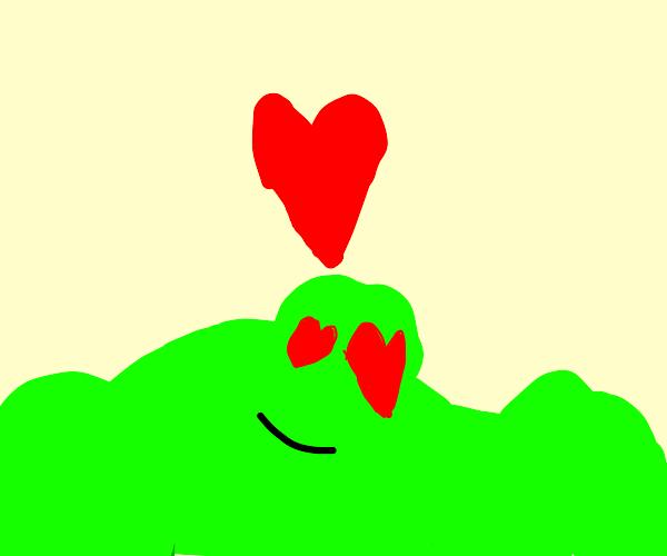 green blob in love
