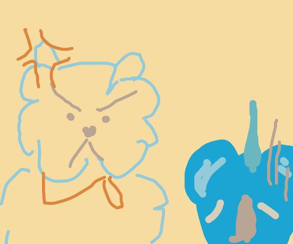 Annoyed alpaca chastises friend.