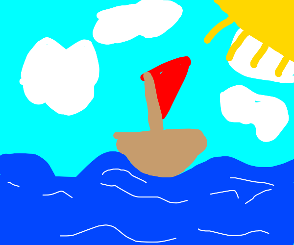 a boat out alone at sea......................