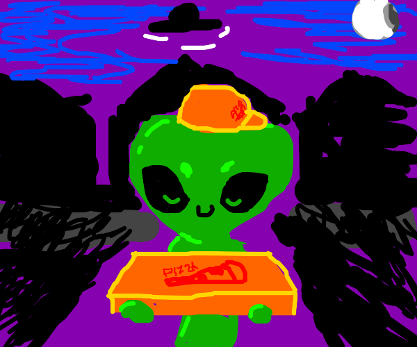 Alien family give out pizzas