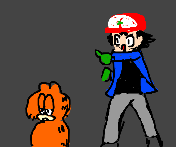 Ash Catchum with Garfield as pokemon