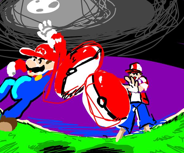 Mario and Pokemon Trainer throwing Pokeballs