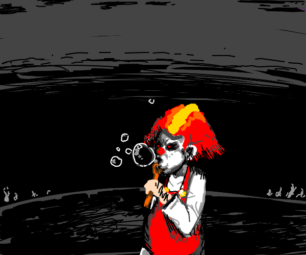 Clown Blowing Bubbles in the Dark Abyss