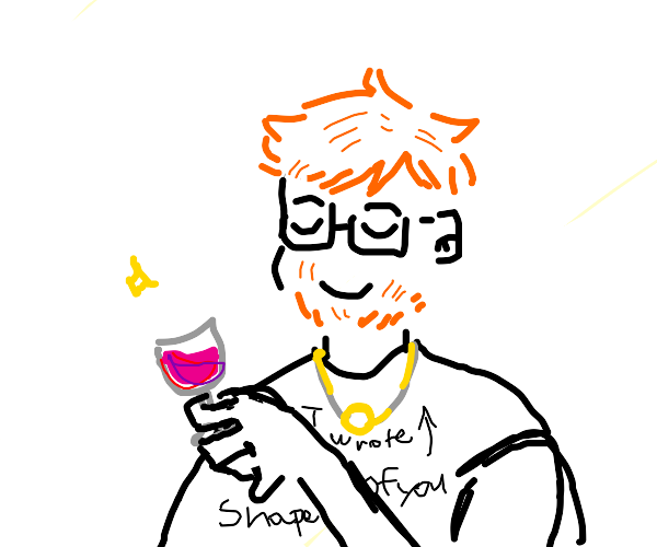 Ed sheeren with neckless drinks wine