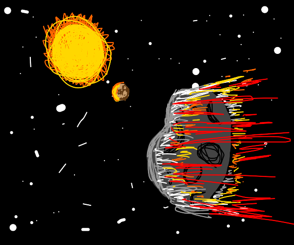Asteroid going fast through space